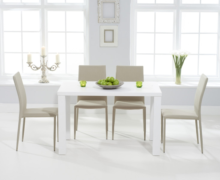 Mark Harris Ava Matt White Dining Set - 120cm Rectangular with 4 Stackable Beige Chairs