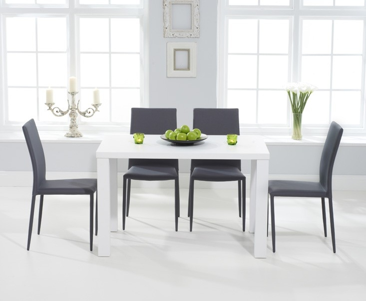 Mark Harris Ava Matt White Rectangular Dining Set with 4 Stackable Grey Chairs - 120cm