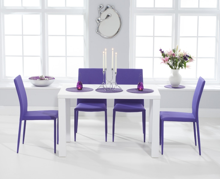 Mark Harris Ava Matt White Dining Set - 120cm with 4 Stackable Purple Chairs