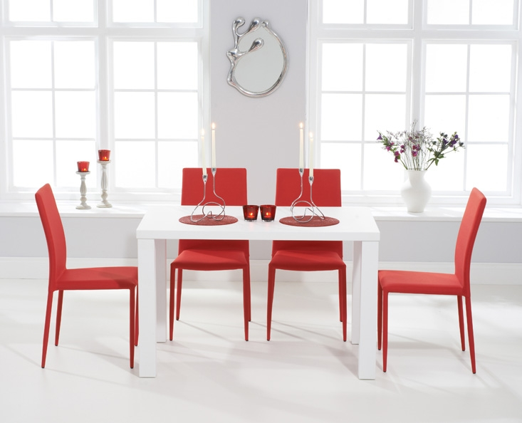 Mark Harris Ava Matt White Dining Set - 120cm Rectangular with 4 Stackable Red Chairs