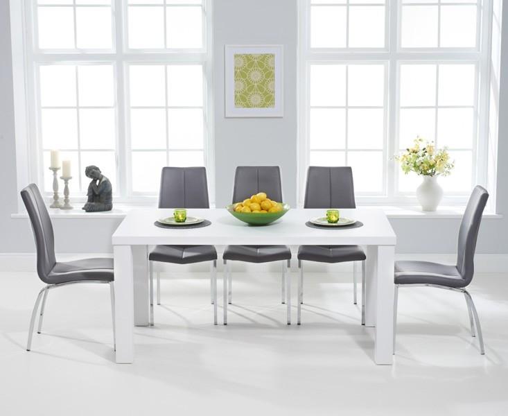 Mark Harris Ava Matt White Dining Set - 160cm Rectangular with 6 Carsen Grey Chairs
