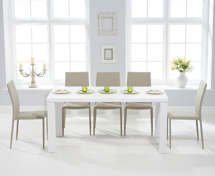 Mark Harris Ava Matt White Dining Set - 160cm Rectangular with 6 Stackable Beige Chairs