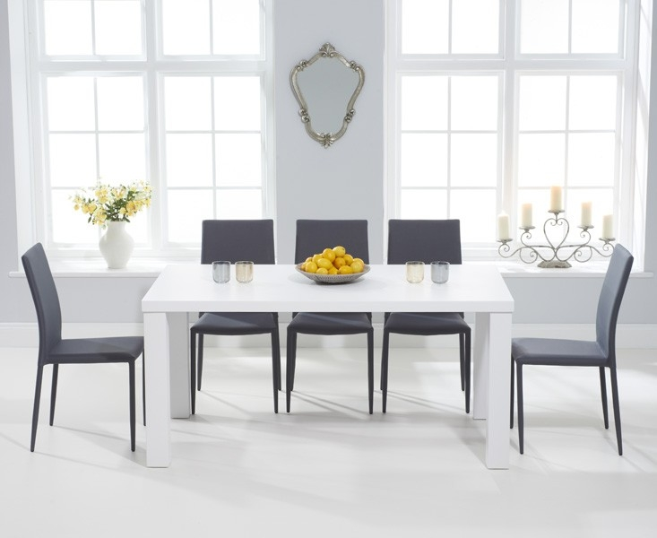 Mark Harris Ava Matt White Dining Set - 160cm Rectangular with 6 Stackable Grey Chairs