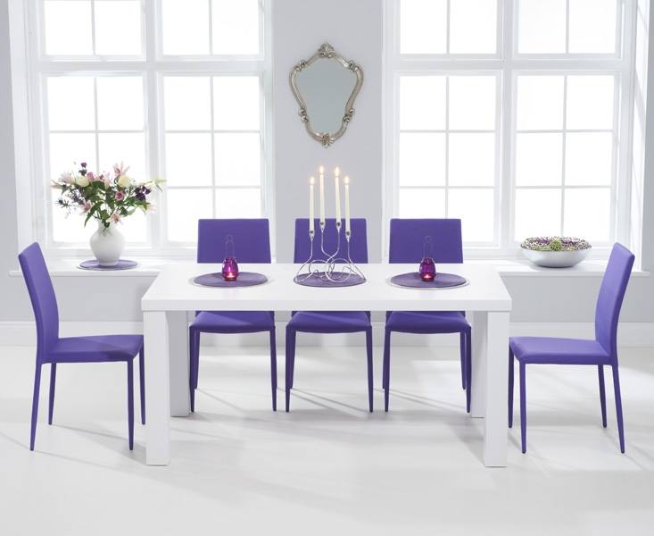 Superb Mark Harris Ava Matt White 160cm Dining Set With 6 Stackable Purple Dining  Chairs