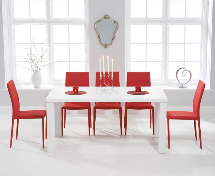Mark Harris Ava Matt White Dining Set - 160cm Rectangular with 6 Stackable Red Chairs