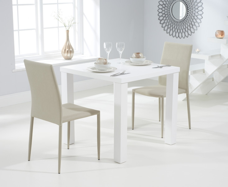 Mark Harris Ava Matt White 80cm Dining Set with 2 Stackable Beige Dining Chairs