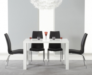 Mark Harris Ava White High Gloss Dining Set 120cm with 4 Black Carsen Dining Chairs