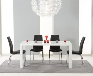 Mark Harris Ava White High Gloss Dining Set - 160cm with 4 Black Carsen Chairs