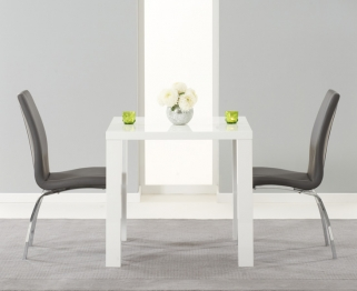 Mark Harris Ava White High Gloss Dining Set - 80cm with 2 Grey Carsen Chairs