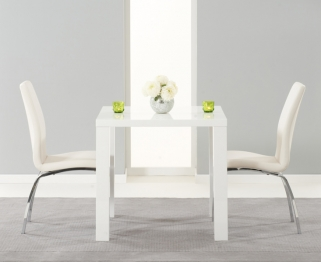 Mark Harris Ava White High Gloss Dining Set 80cm with 2 Ivory Carsen Dining Chairs