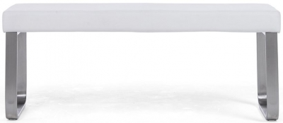 Mark Harris Ava White Faux Leather Medium Bench