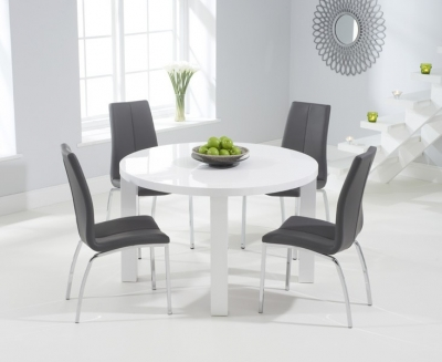Mark Harris Ava White High Gloss Round Dining Table and 4 Carsen Grey Chairs