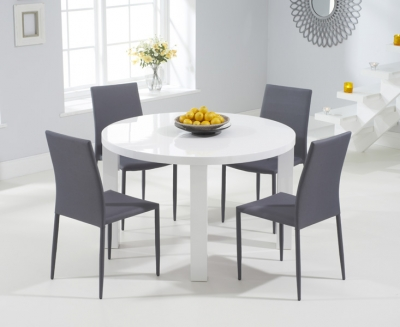 Mark Harris Ava White High Gloss Round Dining Table and 4 Stackable Grey Chairs