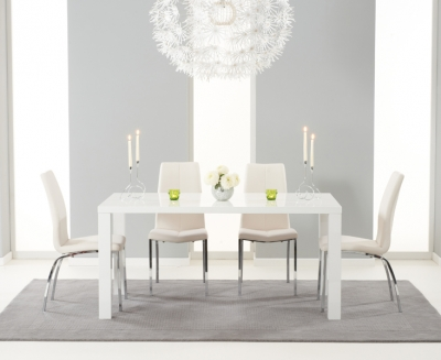 Mark Harris Ava White High Gloss Medium Dining Table and 4 Carsen Ivory Chairs