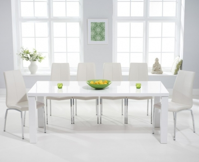 Mark Harris Ava White High Gloss Extra Large Dining Table and 6 Carsen Ivory Chairs