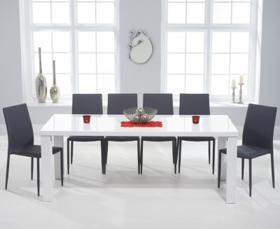 Mark Harris Ava White High Gloss Extra Large Dining Table and 6 Stackable Grey Chairs