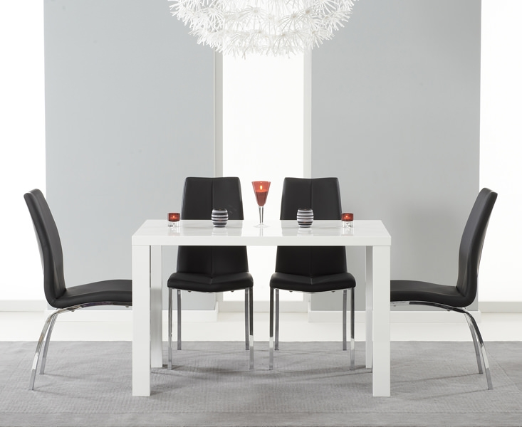 Mark Harris Ava White High Gloss Dining Set - 120cm with 4 Black Carsen Chairs