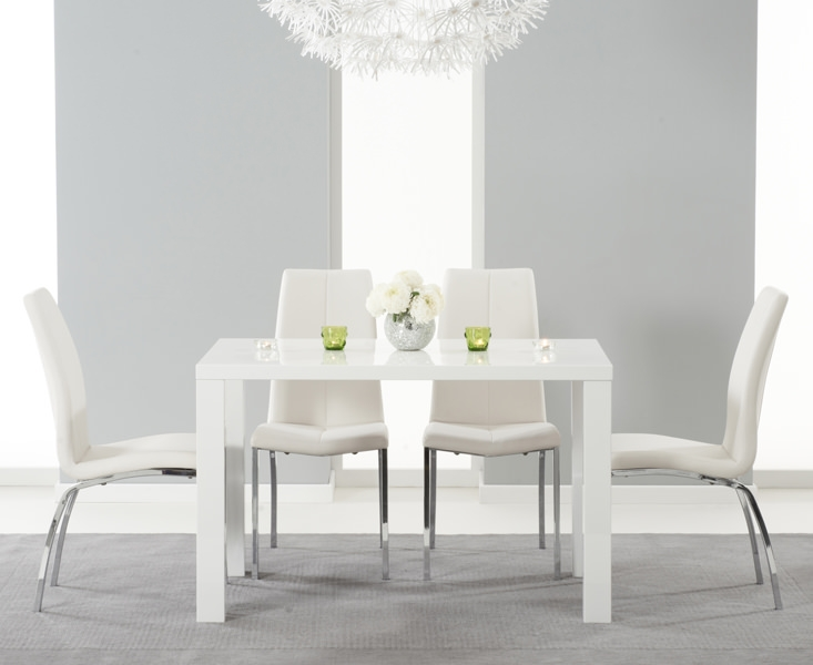 Mark Harris Ava White High Gloss Dining Set 120cm With 4 Ivory Carsen Dining  Chairs Part 35