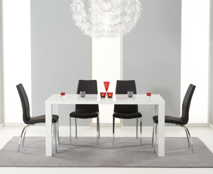 Mark Harris Ava White High Gloss Dining Set 160cm with 4 Black Carsen Dining Chairs