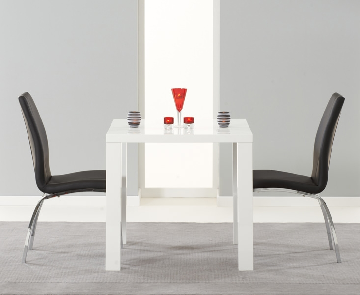 Mark Harris Ava White High Gloss Dining Set 80cm with 2 Black Carsen Dining Chairs