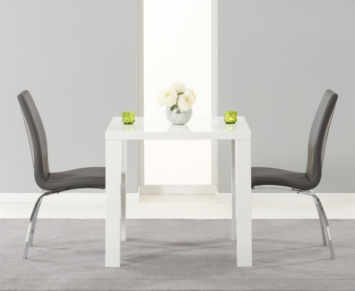 Mark Harris Ava White High Gloss Dining Set 80cm with 2 Grey Carsen Dining Chairs