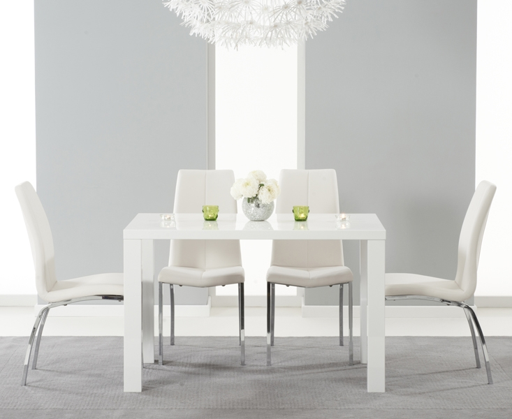 Mark Harris Ava White High Gloss Dining Set - 120cm Rectangular with 4 Ivory Carsen Chairs