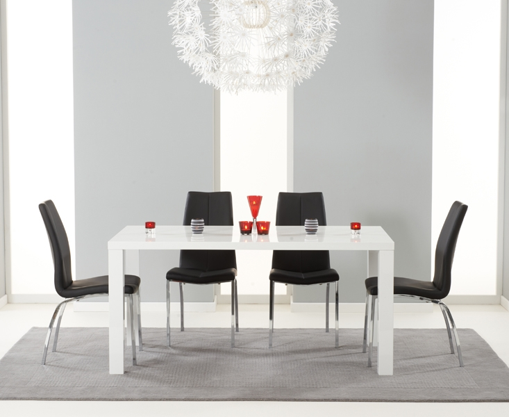 04093bf149de Mark Harris Ava High Gloss Medium Dining Table and 4 Carsen Chairs - White  and Black