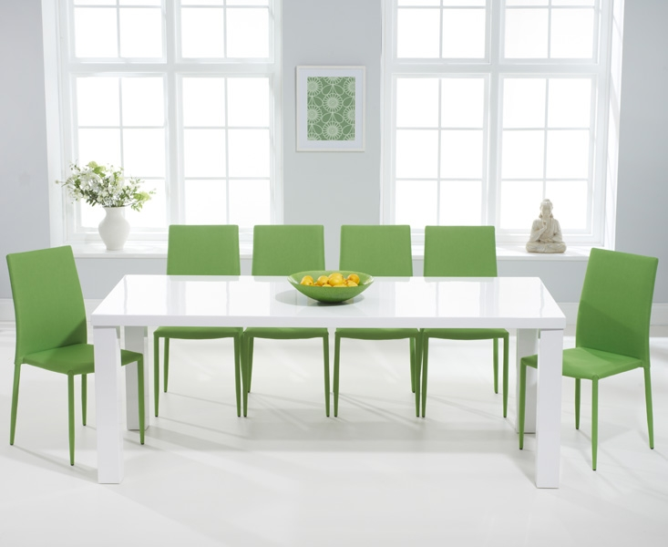 Mark Harris Ava White High Gloss 200cm Dining Set with 6 Stackable Green Dining Chairs