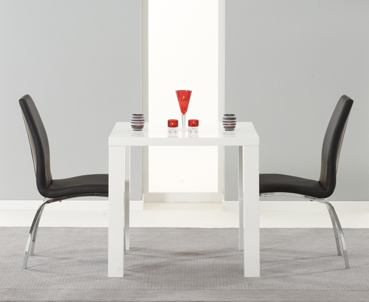 Mark Harris Ava White High Gloss Dining Set - 80cm Square with 2 Black Carsen Chairs