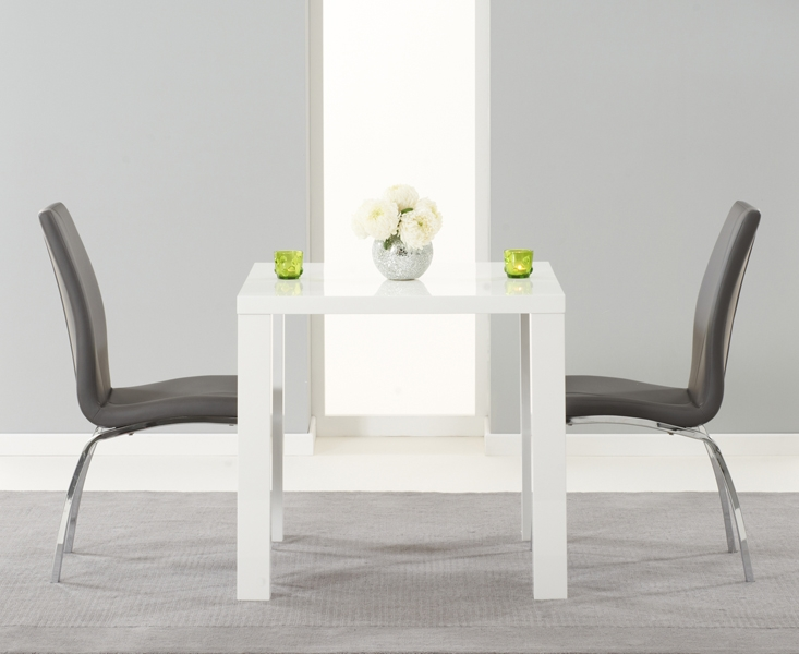 Mark Harris Ava White High Gloss Dining Set - 80cm Square with 2 Grey Carsen Chairs