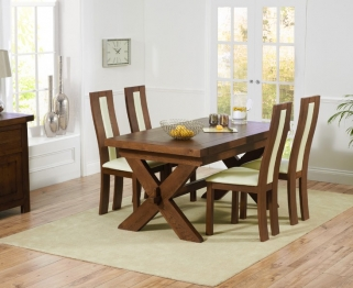 Mark Harris Avignon Solid Dark Oak 160cm Extending Dining Set with 4 Havana Dark Cream Dining Chairs