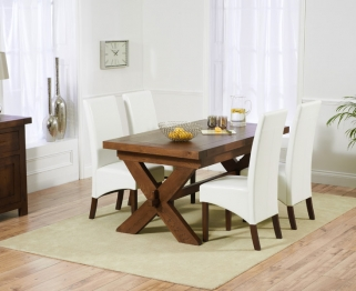 Mark Harris Avignon Solid Dark Oak 160cm Extending Dining Set with 4 WNG Ivory Dining Chairs