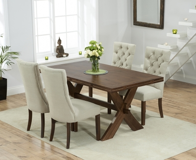 Mark Harris Avignon Solid Dark Oak 165cm Extending Dining Set with 4 Albury Beige Dining Chairs