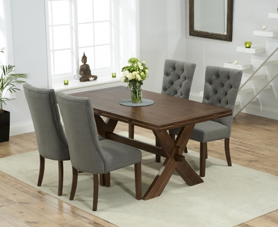 Mark Harris Avignon Solid Dark Oak 165cm Extending Dining Table with 4 Albury Grey Chairs