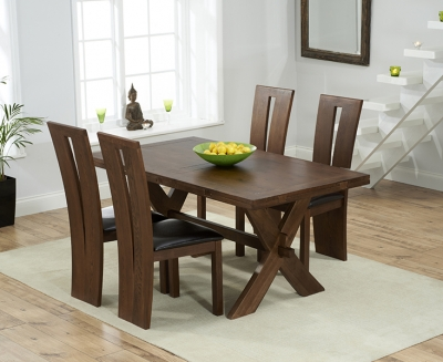 Mark Harris Avignon Solid Dark Oak 165cm Extending Dining Table with 4 Arizon Brown Chairs
