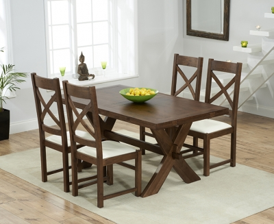 Mark Harris Avignon Solid Dark Oak 165cm Extending Dining Table with 4 Centerbury Cream Chairs