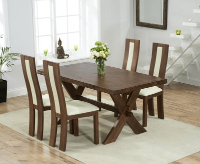 Mark Harris Avignon Solid Dark Oak 165cm Extending Dining Table with 4 Havana Cream Chairs
