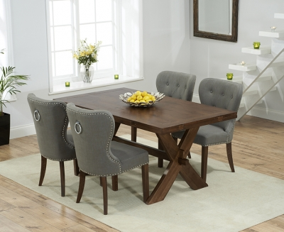 Mark Harris Avignon Solid Dark Oak 165cm Extending Dining Table with 4 Kalim Grey Chairs