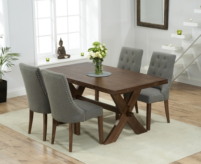 Mark Harris Avignon Solid Dark Oak 165cm Extending Dining Table with 4 Pailin Grey Chairs
