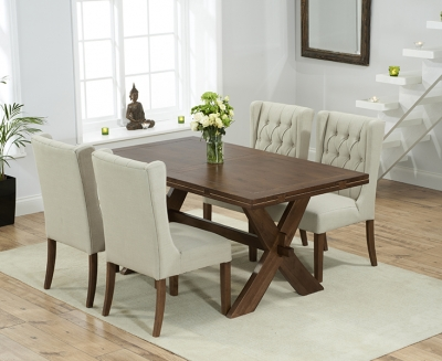 Mark Harris Avignon Solid Dark Oak 165cm Extending Dining Table with 4 Stefini Beige Chairs