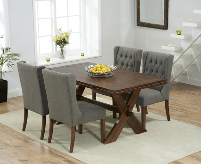 Mark Harris Avignon Solid Dark Oak 165cm Extending Dining Table with 4 Stefini Grey Chairs