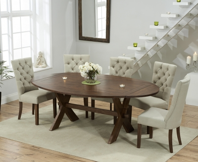 Mark Harris Avignon Solid Dark Oak 165cm Extending Dining Set with 6 Albury Beige Dining Chairs