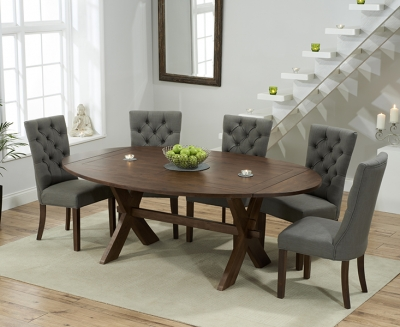 Mark Harris Avignon Solid Dark Oak 165cm Extending Dining Table with 6 Albury Grey Chairs
