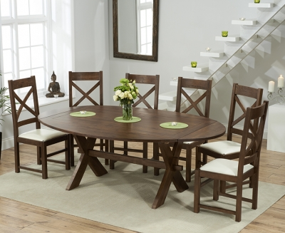 Mark Harris Avignon Solid Dark Oak 165cm Extending Dining Table with 6 Centerbury Cream Chairs
