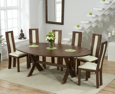 Mark Harris Avignon Solid Dark Oak 165cm Extending Dining Table with 6 Havana Cream Chairs