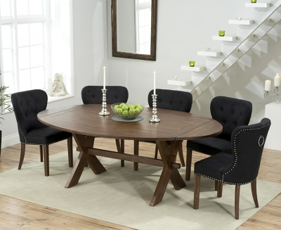 Mark Harris Avignon Solid Dark Oak 165cm Extending Dining Table with 6 Kalim Black Chairs