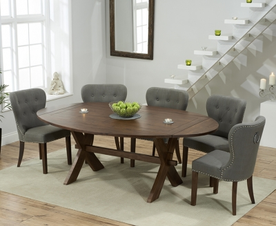 Mark Harris Avignon Solid Dark Oak 165cm Extending Dining Table with 6 Kalim Grey Chairs