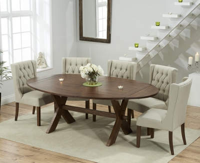 Mark Harris Avignon Solid Dark Oak 165cm Extending Dining Set with 6 Stefini Beige Dining Chairs