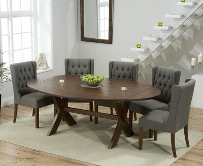 Mark Harris Avignon Solid Dark Oak 165cm Extending Dining Table with 6 Stefini Grey Chairs