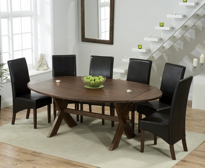 Mark Harris Avignon Solid Dark Oak 165cm Extending Dining Table with 6 WNG Brown Chairs
